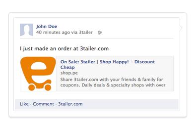 דוגמא לסטטוס בפיסבוק הנוצר לאחר ביקורת או רכישת מוצר